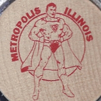 "Metropolis Illinois Superman Celebration ""Round Tuit"" wooden token (1998)"